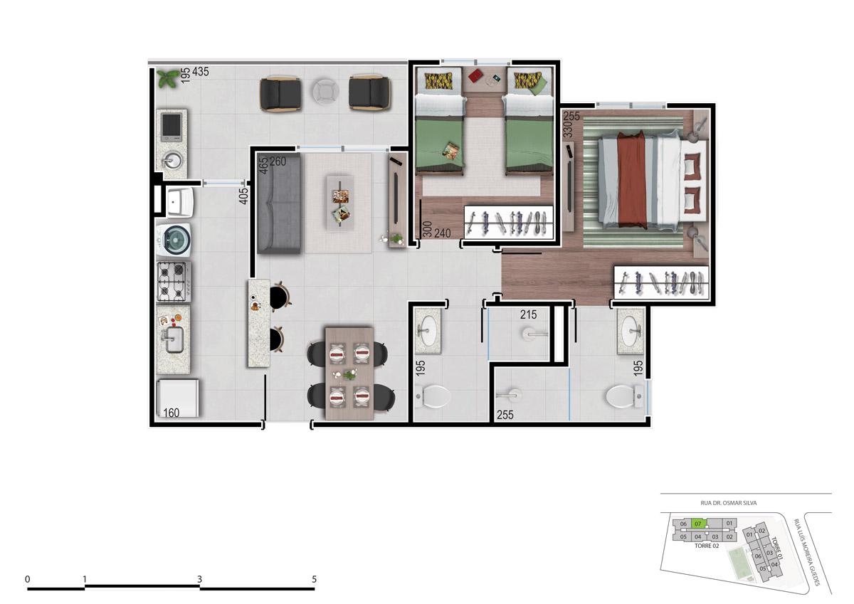 Planta 2 dos apartamentos 2 quartos tipo garden - bom pastor 360