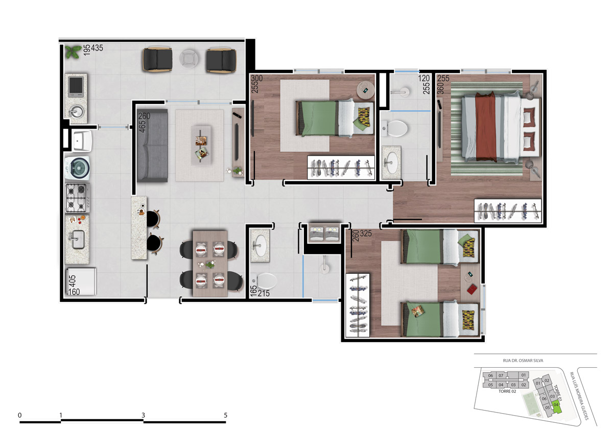 Planta 2 dos apartamentos 3 quartos - bom pastor 360