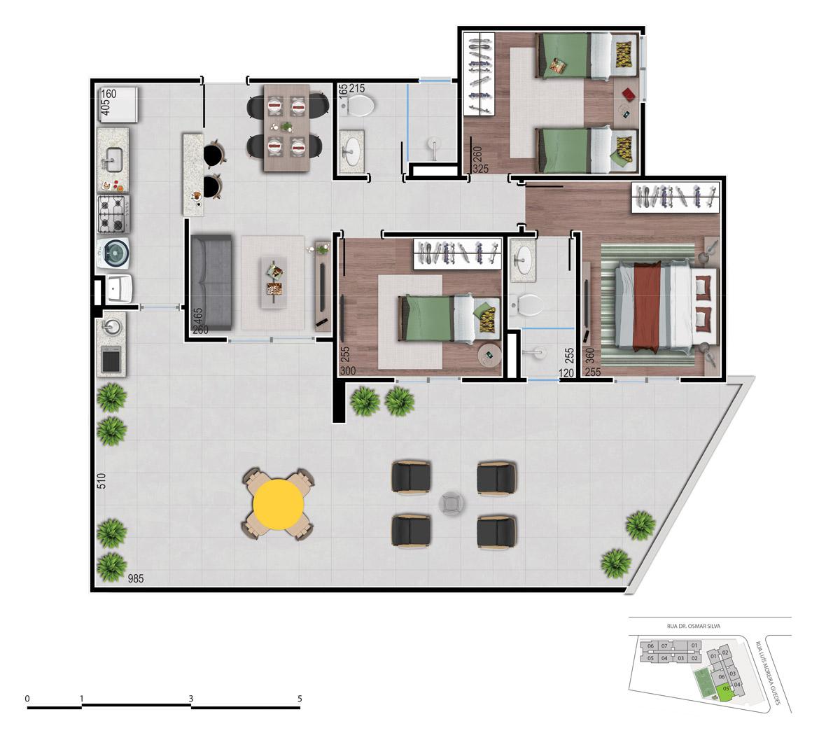 Planta dos apartamentos 3 quartos - bom pastor 360