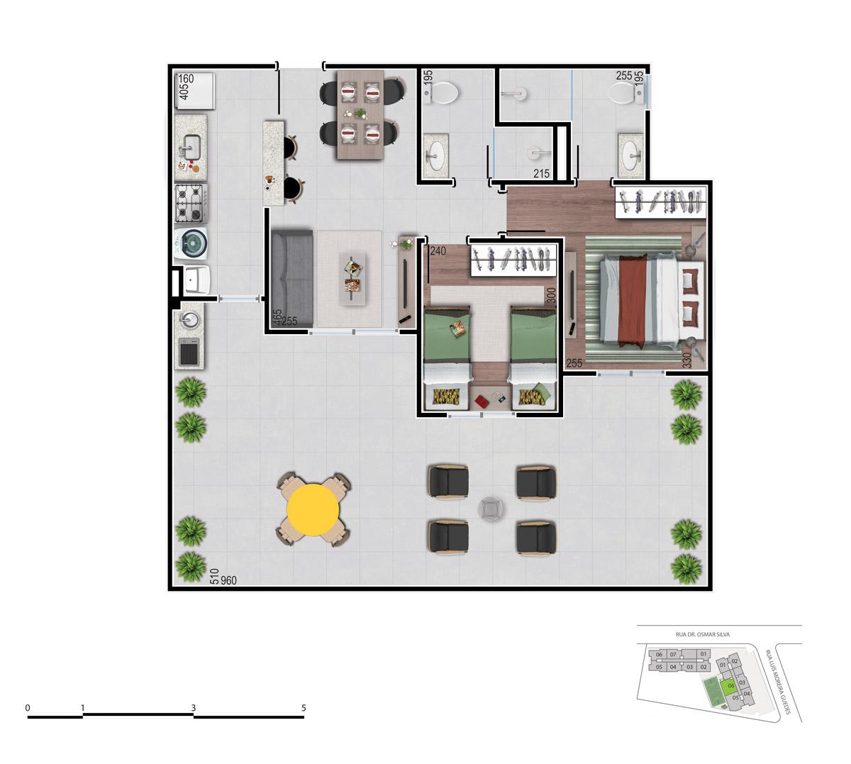 Planta dos apartamentos 2 quartos tipo garden - bom pastor 360